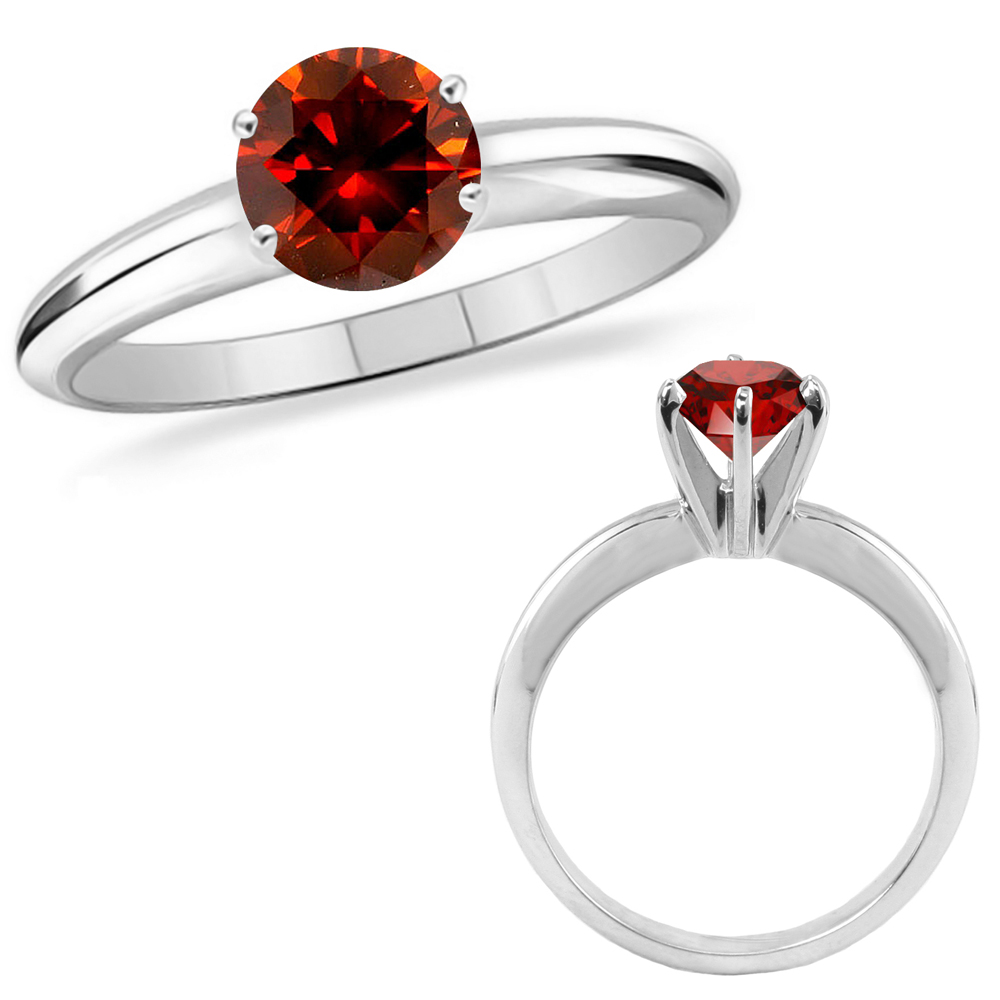 3 Carat Red Diamond Solitaire Engagement Wedding Promise Ring 14k White Gold